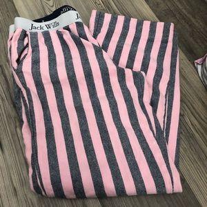 Jack Wills Pink & Navy Pinstripe Pajama Pants 10